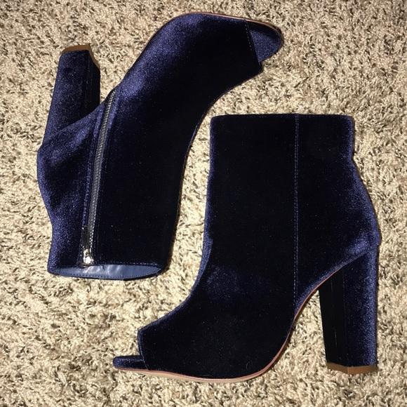 a6a3d1ec9efc Gina Blue Velvet Peep Toe Heel Ankle Boot